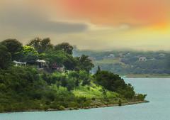 BELTON LAKE SUNSET6 (sadler0) Tags: lake sunset water land trees homes green orange texas shining artdigital
