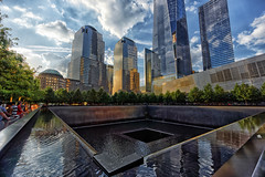 Ground zero memorial (marko.erman) Tags: plaza sunset newyork monument pool architecture waterfall memorial unitedstates sony towers footprints twin memory september11 groundzero relfections memorialplaza