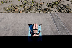 (Peter de Krom) Tags: beach summer guernsey girl bikini shadow sunbathing tanning suncream lying sleeping nap napping