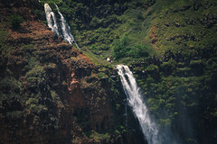 Kauai Falls :: 2 (Adam Claeys) Tags: terrain mountains green water landscape hawaii coast waterfall falls na helicopter kauai pali heli