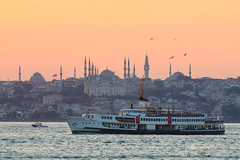 The Ferry and the Sunset in Istanbul (aksoykaan1) Tags: ferry istanbul sea seaside cityscape sunset canon80d 80d canonef70200 telephoto extender teleconverter