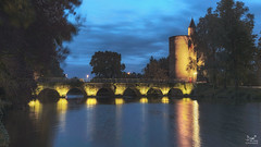 Brugge brug (Bram de Jong) Tags: brugge minnewater bridge tower architecture bluehour night nikon tripod longexposure le water sky lights landscape belgium cityscape