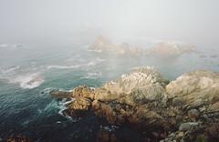 the dreaming mist (manyfires) Tags: coast coastline shore shoreline ocean sea pacificocean analog film california pointlobos fog mist moody waves tide landscape seascape