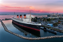 RMS Queen Mary (Aydin T. Palabiyikoglu) Tags: ca travel cruise sunset usa hotel outdoor terminal tourist aerial scorpion worldwarii queenmary longbeach dome rms retired oceanliner drone atraction russiansubmarine