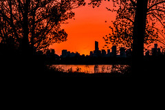 Firey Sunset (A Great Capture) Tags: dusk evening lakeontario lake water orange sky fireysky tommythompsonpark lesliestreetspit thespit agreatcapture agc wwwagreatcapturecom adjm toronto on ontario canada canadian photographer ash2276 ashleylduffus ald mobilejay jamesmitchell 2016 spring springtime snset sunset sundown silhouette skyline aura condos ig