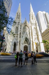 Movement in front of St Patrick's Cathedral New York City (rayr18) Tags: stpatrickscathedral nyc newyork manhattan taxi city church cathedral movement unlimitedphotos nikon tokina 35mm prime