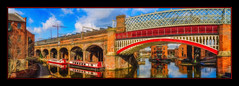 Bridge & Barges (Kevin From Manchester) Tags: castlefields lancashire manchester panorama panoramic water canal kevinwalker northwest architecture bridge barge bridgewatercanal sky clouds waterways waterfront railwaybridge