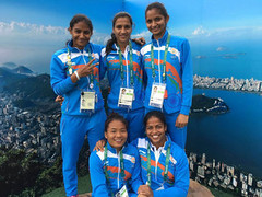 Members of India's Olympic Women contingent pose for a photo in the backdrop of Rio city. photo-UNI (legend_news) Tags: rio brazile members indias olympic women contingent pose for photo backdrop city photouni