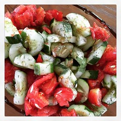 Summer Lovin' (matthewkaz) Tags: instagramapp square squareformat iphoneography uploaded:by=instagram ludwig cucumber cucumbers tomato tomatoes salad homegrown garden gardening food cedar maplecity michigan 2016