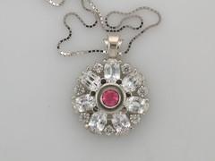 colorado rhodocrosite & white sapphire pendant