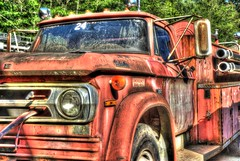 Old Dodge Firetruck (Blue Goose Inn by D.Broberg) Tags: abstract truck vintage island washington nikon antique rusty firetruck wa dodge d200 hdr coupeville whidbey bluegooseinn