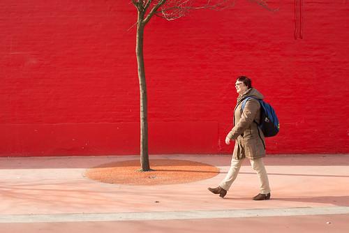 Walking in red