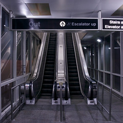 (BCalico) Tags: blue chicago west night out waiting cta northwest harlem bottom escalator north platform entrance down line ohare chi northside access exit downstairs