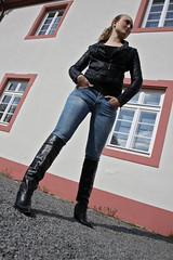 Selina 13 (The Booted Cat) Tags: woman sexy girl leather buffalo legs boots jeans tight cowboyboots demin