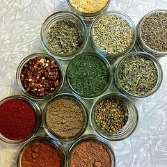 Kitchen necessities. (Jeannette E. Spaghetti) Tags: food kitchen dill square herbs circles sage cayenne spices squareformat mustard homecooking paprika jars tarragon garammasala andmore crushedredpepper sproutingseeds instagramapp uploaded:by=instagram