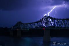 Lightning behind Bridge (AP Imagery) Tags: ohioriver owensboro blue bridge glovercary landscape lightning nature night storm