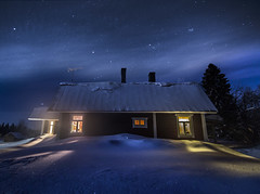 Silent Night (MilaMai) Tags: red cabin stars underthestars winter snow snowscape house home illuminate window light trees snowdrift shadow roof idyllic night nightsky nightphotography easternfinland suomi maisema milamai landscape deepsnow canon sky blue longexposure joensuu peaceful silent magical beautiful wooden rural countryside north karelia shimmering