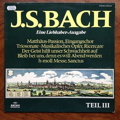 """Bach - """"Kommt, ihr Tochter"""" BWV 244, Trio Sonate BWV 1039, """"Der Geist hilft"""" BWV 226, """"Bleib bei uns"""" BWV 6, Ricercare BWV 1079, Sanctus Mass, Messe h-moll BWV 232 - Munchener Bach-Chor & Orch., Karl Richter, Aurele & Christiane Nicolet Flute, Christian J (Piano Piano!) Tags: musician artwork album vinyl collection record vol sleeve hoes 12inch vynil hulle karlrichter regensburgerdomspatzen hannsmartinschneidt teiliii ernsthaefligertenor ricercarebwv1079 liebhaberausgabe musikalischeropfer bachkommtihrtochterbwv244 triosonatebwv1039 dergeisthilftbwv226 bleibbeiunsbwv6 sanctusmass messehmollbwv232munchenerbachchororch aurelechristianenicoletflute christianjaccottetcembaloclavecinharpsichord johannesfinkgambe dggarchiv2565043 recordalbumdisclpvinylvynil12inch coverarthoeshulle12inch discdisquerecordalbumlplangspeelplaatgramophoneschallplattevynilvinyl"""