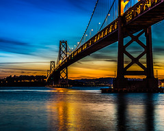 Beautiful Bay Bridge (tdeansflegel) Tags: city bridge sky water clouds sunrise canon 50mm bay san francisco long exposure bayarea f18 6d
