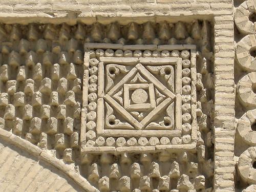165-OUZBEKISTAN-Boukhara, mausolée Ismaïl Samani, la perle de l'Orient (début X°, le plus ancien mausolée musulman) , un cercle dans un carré, symbole zoroastrien de l'éternité