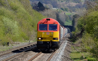 60040 powers towards Bamford with the 6H10 Bletchley to Peak Forest, 29th April 2015.
