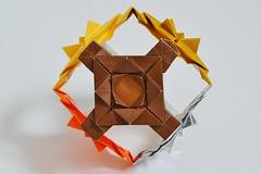 Flowering Squares Cube (Byriah Loper) (Byriah Loper) Tags: geometric paper grid origami paperfolding kami polyhedron kusudama byriahloper
