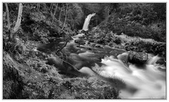 Grey Mares Tail Stitch (3,6,9 Seconds of light) Tags: park autumn blackandwhite panorama water speed creek forest canon landscape flow grey mono photo waterfall stream slow outdoor tail border panoramic falls burn stewart shutter 5d flowing stitched newton mares galloway dumfriesandgalloway stitcher newtonstewart talnotry