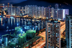Tsuen Wan West (mikemikecat) Tags: street house west building rooftop architecture night vintage hongkong evening twilight colorful pattern sony cityscapes hong kong nostalgia housing block lighttrails nightview wan     stacked nightscapes estates      tsuen  ninatower a7r    ninahotel   sel2470z mikemikecat