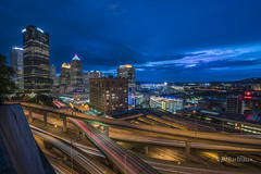 Pittsburgh 2016 (M0rris82) Tags: pittsburgh downtown cityscape lighttrails longexposure city skyline sunset landscape urban moody night evening blue hour lights