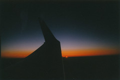 In dreams (Kelly Marciano) Tags: sunset 3 film silhouette analog plane 35mm flying inflight lowlight horizon wing dreamy analogue dust vignette lastlight filmgrain flyinghome ireallylikethisone colornegativefilm