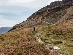 Mellbreak from Kirkstile Inn (Roger Hanuk) Tags: 1000miles cumbria england footpath kodakektar lakedistrict mellbreak mountain path scree sheila wainwrights walking xequals loweswater unitedkingdom