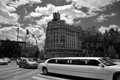 Traffic (Daniel Nebreda Lucea) Tags: cars traffic coches trafico city ciudad street calle building edificio architecture arquitectura clouds nubes sky cielo zaragoza aragon spain espaa black white blanco negro urban urbano canon town travel viajar move mover speed velocidad monochrome monocromo life vida tourism turismo job trabajo day dia work