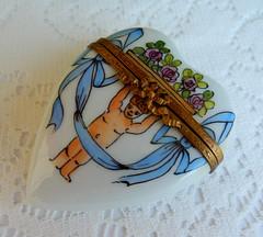 Limoges France Peint Main Porcelain Trinket Box ~ Putto Cherub ~ Artist Signed (Donna's Collectables) Tags: limoges france peint main porcelain trinket box ~ putto cherub artist signed
