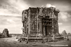 150620_1464 Central Tower of Phnom Bakheng Temple (otaphoto1) Tags: bakheng angkor temple cambodia landscape serene otaphototours canon70d bw blackandwhite dof sky morning cloud