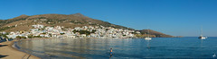 island panorama (Theocharis Kalamaras) Tags: mpatsi batsi andros summer blue white sky sea village panorama bay aegean aegeon cyclades greece hellas sand beach catamaran seaside     moments discovergreece visitgreece
