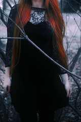 #ProjectNeverland: #AHSCoven (TheJennire) Tags: photography fotografia foto photo camara camera colours colores cores light luz photoshoot dark halloween fashion style black cold woods magic dreamy ethereal fantasy witch people portrait young tumblr ahs ahscoven coven americanhorrorstorycoven americanhorrorstory fx tv tvshow conceptualphotography projectneverland ginger dress