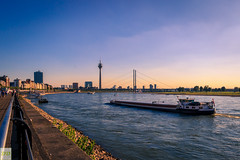 Where are the clouds? (Double.D - Photography) Tags: landscape landschaft dsseldorf germany rhein promenade water wasser ships skyline tower turm sunset sonnenuntergang canon canon600d doubled explore evening abend sigma 1750mm outdoor outside
