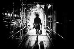 Nighttime Stroll (jgottlieb) Tags: leica mp typ 240 35mm summilux seattle downtown scaffolding sidewalk shadows purse black white washington wa