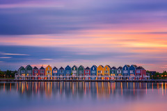 Rainbow Houses (albert dros) Tags: rietplas houses sunset albertdros reflections town clean longexposure rainbow dutch travel thenetherlands houten village tourism bluehour smooth