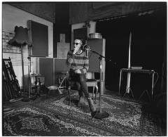Marlon Williams recording a track at The Sitting Room (@fotodudenz) Tags: mamiya7 film rangefinder super wide angle 43mm ilford xp2 medium format the sitting room marlon williams recording studio lyttelton christchurch new zealand canterbury 2016