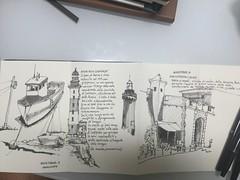 Inktober 9&10 (matteotarenghi) Tags: tumblr inktober2016 inktober boats sakhalin lighthouse portoferraio porta mare darsena medicea tarenghi matteo moleskine concertina uniball micro air pentel sumi brush pen