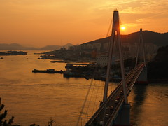 Dolsan Bridge at Sunset (nschleheck) Tags: city bridge light sunset red orange sun night river asia south horizon korea korean province  yeosu jeolla  dolsan