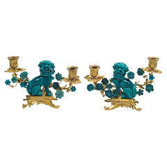 Pair of Gilt Bronze Mounted Turquoise Glazed Foo Dog Candelabra (thehighboy) Tags: lighting miami antiques collectibles candelabra highboy candelabras giltbronze