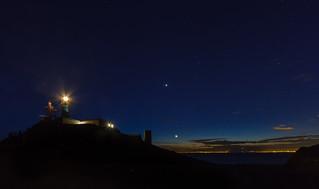 Venus, la luna y el faro de Gata