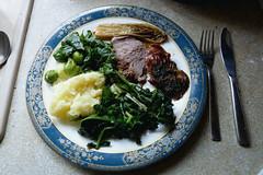 Lunch - plenty of greens from the garden! (karenblakeman) Tags: uk food vegetables garden lunch april lamb chicory caversham 2015 brassicas cavershamgarden rootmash