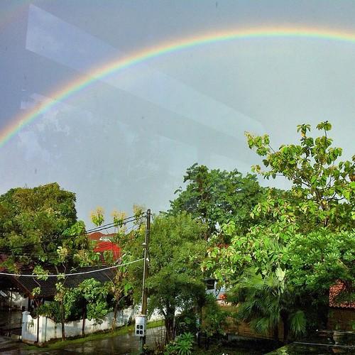 The rain never alone.. #rainbow #nature #iPhone #snapseed