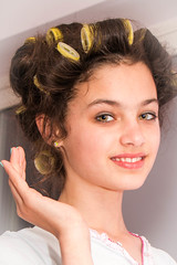Girl in Curlers (Val Beegan) Tags: portrait girl hair curlers