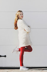 Red (Natale Aves) Tags: light red woman white color art love colors girl look fashion female self butterfly myself eyes natural skin body furcoat lips clothes jeans converse allstar skinnyjeans