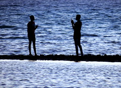 Two Together (Khaled M. K. HEGAZY) Tags: nikon coolpix p520 rassedr egypt nature outdoor closeup blue white black sea red water seaside silhouette people