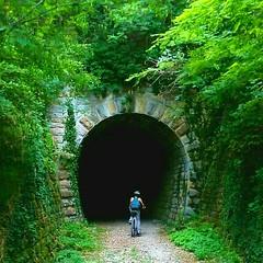 into the darkness (dea.sch) Tags: bicycle bike tunel green wood istra parenzana motovun bikegirl summer croatia adventure adrenalin fun